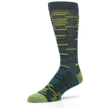 Image of Green Lime Block Stripe Wool Men's Socks (side-2-09)