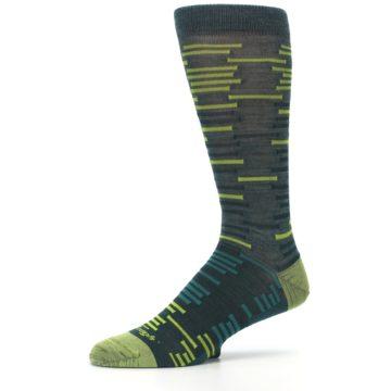 Image of Green Lime Block Stripe Wool Men's Socks (side-2-10)