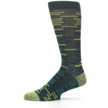 Image of Green Lime Block Stripe Wool Men's Socks (side-2-11)