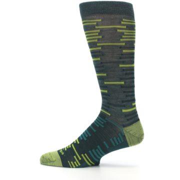 Image of Green Lime Block Stripe Wool Men's Socks (side-2-12)