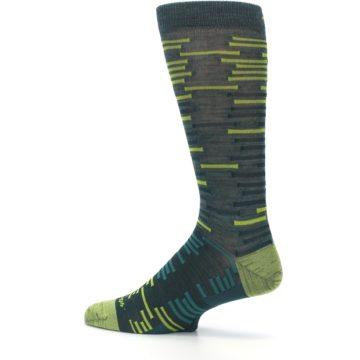 Image of Green Lime Block Stripe Wool Men's Socks (side-2-13)