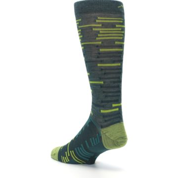Image of Green Lime Block Stripe Wool Men's Socks (side-2-back-15)
