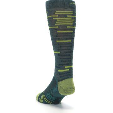 Image of Green Lime Block Stripe Wool Men's Socks (side-2-back-16)