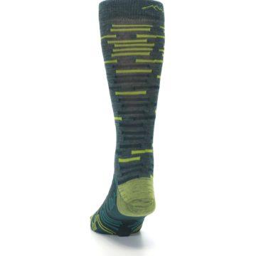 Image of Green Lime Block Stripe Wool Men's Socks (back-17)