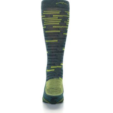 Image of Green Lime Block Stripe Wool Men's Socks (back-18)