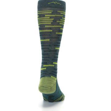 Image of Green Lime Block Stripe Wool Men's Socks (back-19)