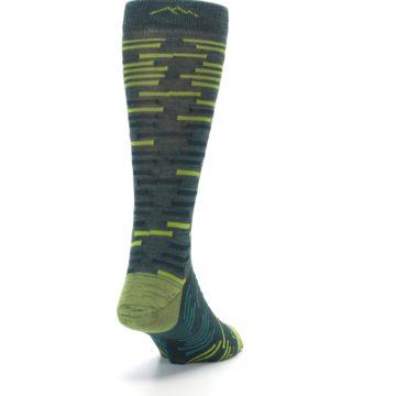 Image of Green Lime Block Stripe Wool Men's Socks (side-1-back-20)