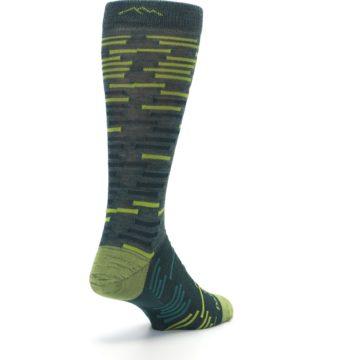 Image of Green Lime Block Stripe Wool Men's Socks (side-1-back-21)