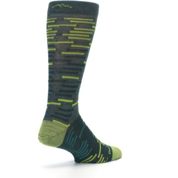Image of Green Lime Block Stripe Wool Men's Socks (side-1-back-22)