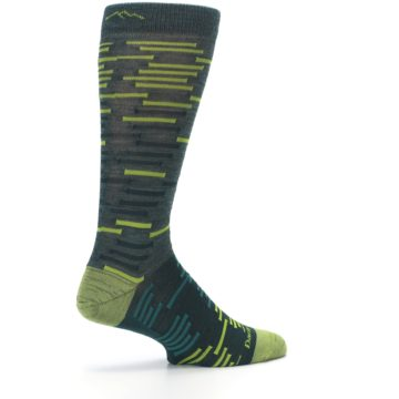 Image of Green Lime Block Stripe Wool Men's Socks (side-1-23)
