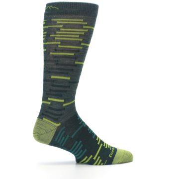 Image of Green Lime Block Stripe Wool Men's Socks (side-1-24)
