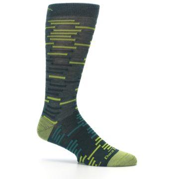 Image of Green Lime Block Stripe Wool Men's Socks (side-1-25)