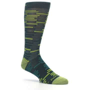 Image of Green Lime Block Stripe Wool Men's Socks (side-1-26)