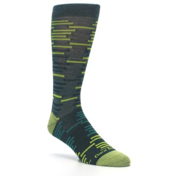 Image of Green Lime Block Stripe Wool Men's Socks (side-1-27)