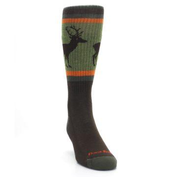 Image of Green Brown Buck Men's Hiking Wool Socks (side-1-front-03)