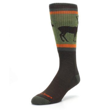 Image of Green Brown Buck Men's Hiking Wool Socks (side-2-front-08)