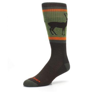 Image of Green Brown Buck Men's Hiking Wool Socks (side-2-09)