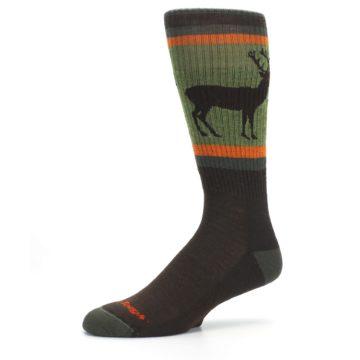 Image of Green Brown Buck Men's Hiking Wool Socks (side-2-10)