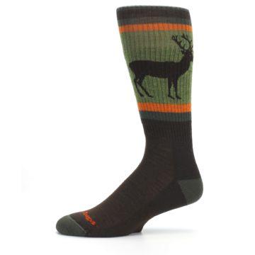 Image of Green Brown Buck Men's Hiking Wool Socks (side-2-11)