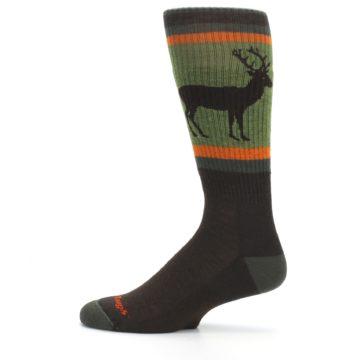 Image of Green Brown Buck Men's Hiking Wool Socks (side-2-12)