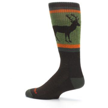 Image of Green Brown Buck Men's Hiking Wool Socks (side-2-13)