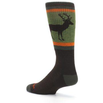 Image of Green Brown Buck Men's Hiking Wool Socks (side-2-back-14)