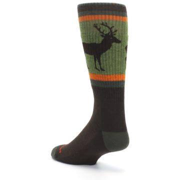 Image of Green Brown Buck Men's Hiking Wool Socks (side-2-back-15)