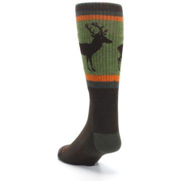 Image of Green Brown Buck Men's Hiking Wool Socks (side-2-back-16)