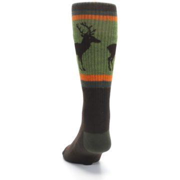 Image of Green Brown Buck Men's Hiking Wool Socks (back-17)