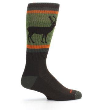 Image of Green Brown Buck Men's Hiking Wool Socks (side-1-24)