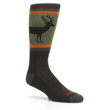 Image of Green Brown Buck Men's Hiking Wool Socks (side-1-26)
