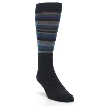 Image of Blue Green Thin Stripe Wool Lifestyle Men's Socks (side-1-front-02)