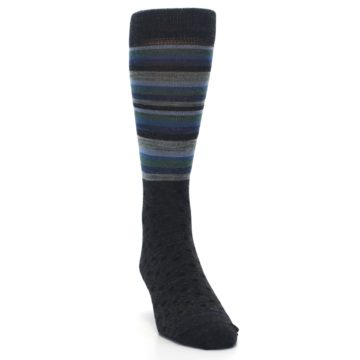 Image of Blue Green Thin Stripe Wool Lifestyle Men's Socks (side-1-front-03)