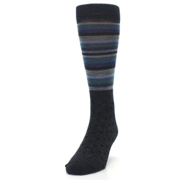 Image of Blue Green Thin Stripe Wool Lifestyle Men's Socks (side-2-front-06)
