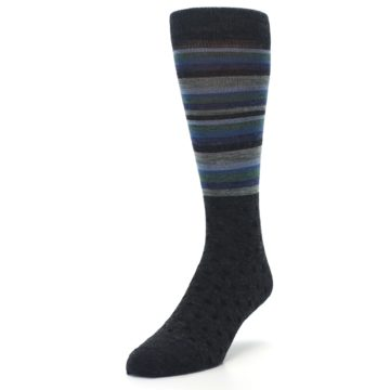 Image of Blue Green Thin Stripe Wool Lifestyle Men's Socks (side-2-front-07)