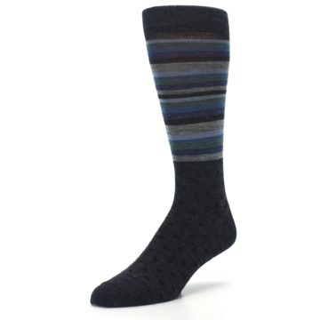 Image of Blue Green Thin Stripe Wool Lifestyle Men's Socks (side-2-front-08)