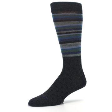 Image of Blue Green Thin Stripe Wool Lifestyle Men's Socks (side-2-09)