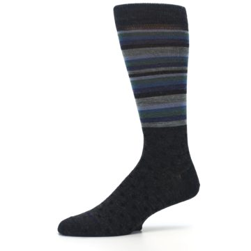 Image of Blue Green Thin Stripe Wool Lifestyle Men's Socks (side-2-10)