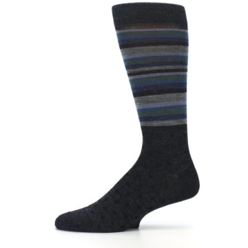 Image of Blue Green Thin Stripe Wool Lifestyle Men's Socks (side-2-11)