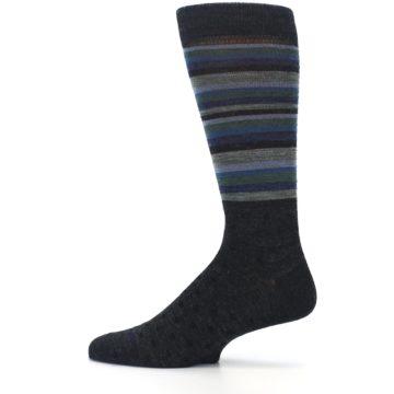 Image of Blue Green Thin Stripe Wool Lifestyle Men's Socks (side-2-12)