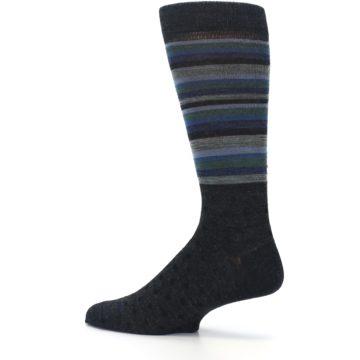 Image of Blue Green Thin Stripe Wool Lifestyle Men's Socks (side-2-13)