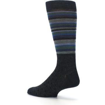Image of Blue Green Thin Stripe Wool Lifestyle Men's Socks (side-2-back-14)
