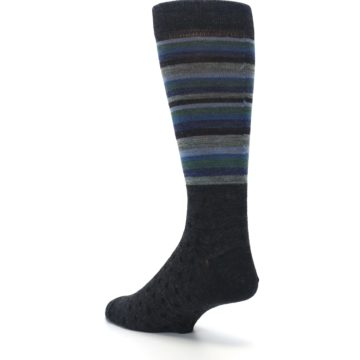 Image of Blue Green Thin Stripe Wool Lifestyle Men's Socks (side-2-back-15)
