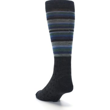 Image of Blue Green Thin Stripe Wool Lifestyle Men's Socks (side-2-back-16)