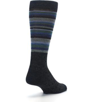 Image of Blue Green Thin Stripe Wool Lifestyle Men's Socks (side-1-back-21)
