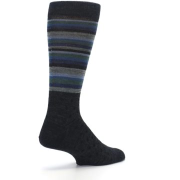 Image of Blue Green Thin Stripe Wool Lifestyle Men's Socks (side-1-back-22)