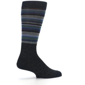 Image of Blue Green Thin Stripe Wool Lifestyle Men's Socks (side-1-23)