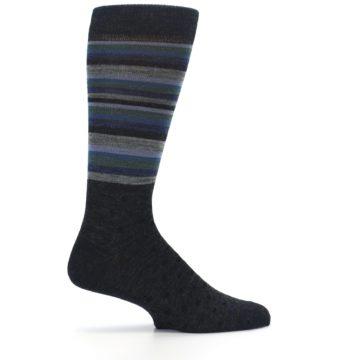 Image of Blue Green Thin Stripe Wool Lifestyle Men's Socks (side-1-24)