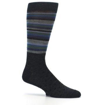 Image of Blue Green Thin Stripe Wool Lifestyle Men's Socks (side-1-25)