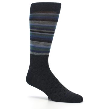 Image of Blue Green Thin Stripe Wool Lifestyle Men's Socks (side-1-26)